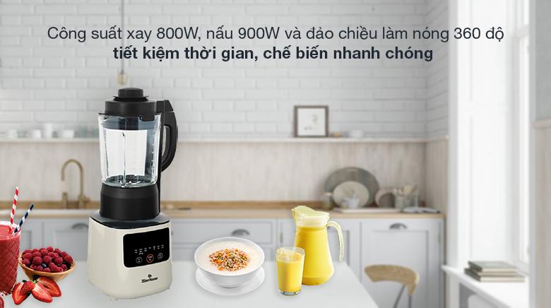 Máy xay nấu đa năng Bluestone BLB-6035 - Hoạt động mạnh mẽ với công suất xay là 800W, nấu 900W, có thể đảo chiều làm nóng thực phẩm 360 độ