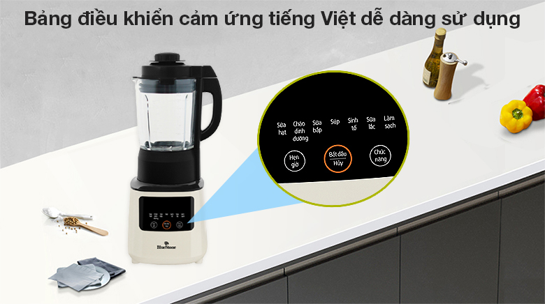 Máy xay nấu đa năng Bluestone BLB-6035 - Bảng điều khiển cảm ứng tiếng Việt dễ dàng sử dụng