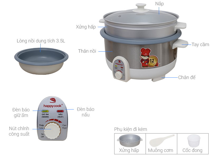 Thông số kỹ thuật Nồi lẩu điện Happycook HCHP-350ST 3.5 lít