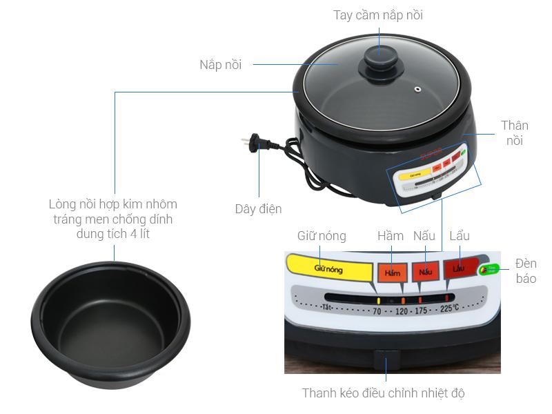 Thông số kỹ thuật Nồi lẩu điện Supor HFK26EVN-130 4 lít