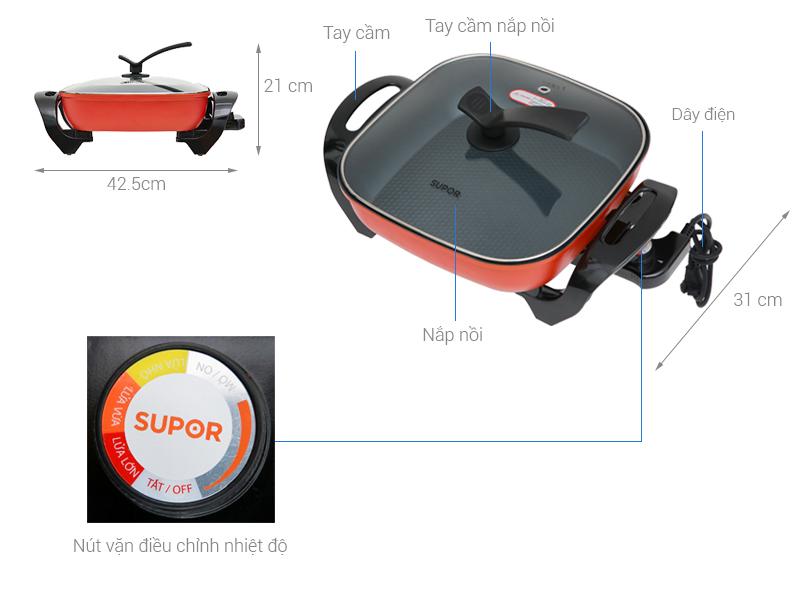 Thông số kỹ thuật Nồi lẩu điện Supor H30FK802VN-136 5 lít
