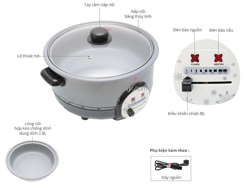 Thông số kỹ thuật Nồi lẩu điện Happycook HCHP-300A 2.8 lít