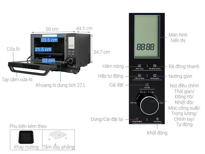 Thông số kỹ thuật Lò vi sóng Panasonic NN-DS596BYUE 27 lít