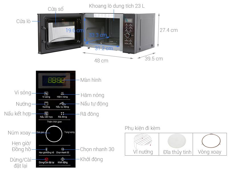 Lò vi sóng inverter Panasonic NN-GD37HBYUE 23 lít