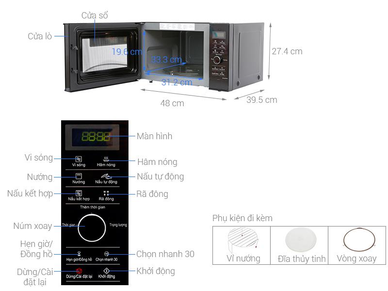 Thông số kỹ thuật Lò vi sóng inverter Panasonic 23 lít NN-GD37HBYUE