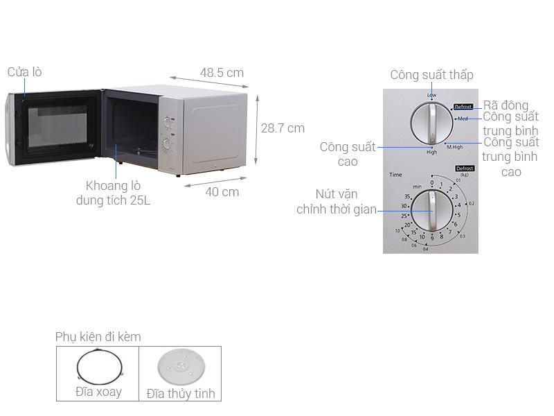 Thông số kỹ thuật Lò vi sóng Panasonic NN-SM33HMYUE 25 lít