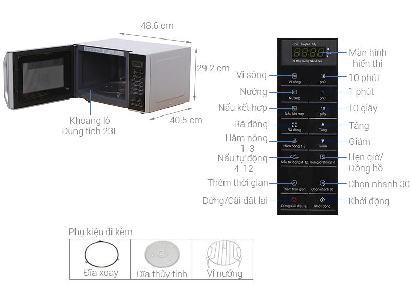 Thông số kỹ thuật Lò vi sóng Panasonic NN-GT35HMYUE 23 lít
