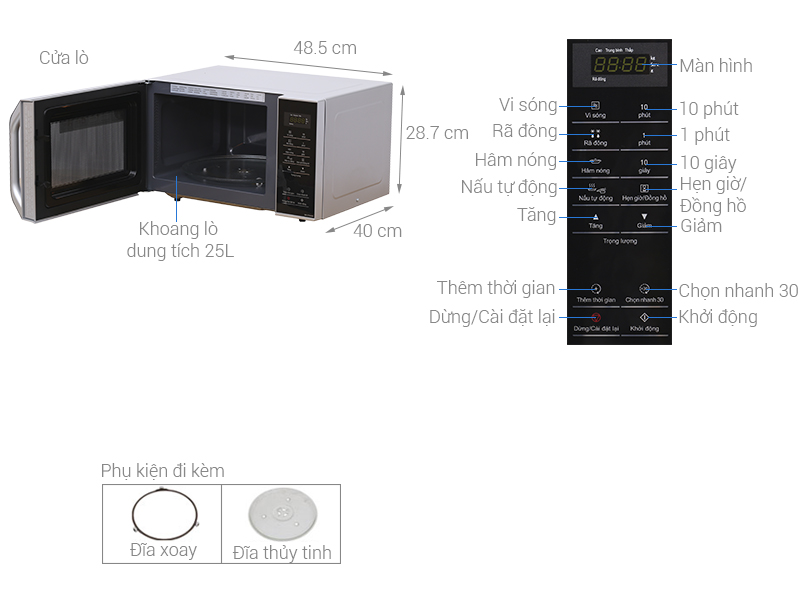 Thông số kỹ thuật Lò vi sóng Panasonic NN-ST34HMYUE 25 lít