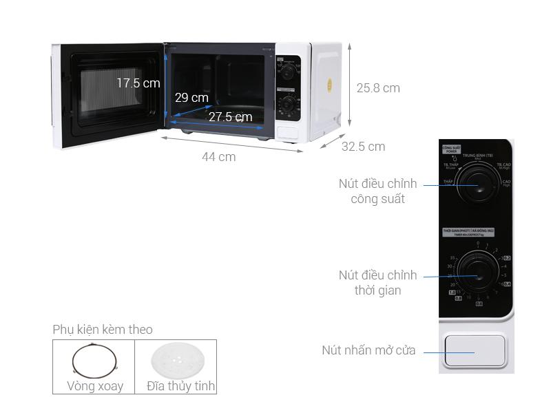 Thông số kỹ thuật Lò vi sóng Toshiba ER-SM20(W)VN 20 lít