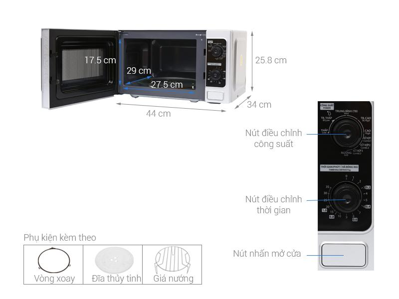 Thông số kỹ thuật Lò vi sóng Toshiba ER-SGM20(S)VN 20 lít