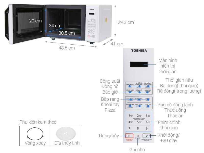Thông số kỹ thuật Lò vi sóng Toshiba ER-SS23(W)VN 23 lít