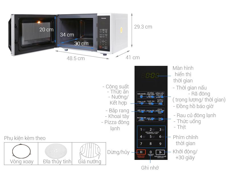 Thông số kỹ thuật Lò vi sóng Toshiba ER-SGS23(S)VN 23 lít