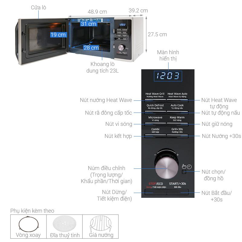 Thông số kỹ thuật Lò vi sóng Samsung MG23K3575AS/SV-N 23 lít