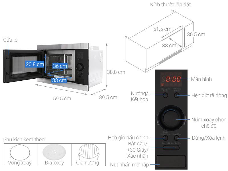 Thông số kỹ thuật Lò vi sóng âm Electrolux EMS2540X 25 lít