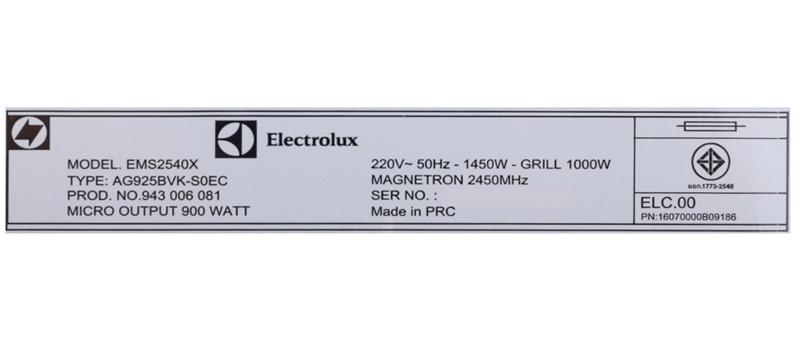 Công suất vi sóng 900 W, nướng 1000 W - Lò vi sóng âm Electrolux EMS2540X 25 lít
