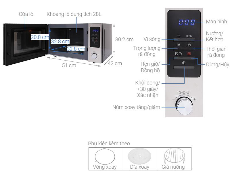Thông số kỹ thuật Lò vi sóng Midea MMO-28EY73 28 lít