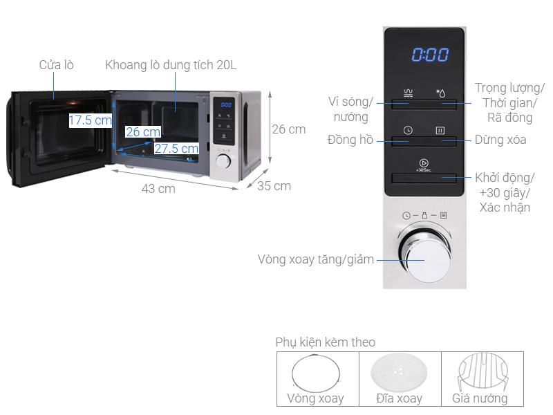 Thông số kỹ thuật Lò vi sóng Midea MMO-20CY73 20 lít