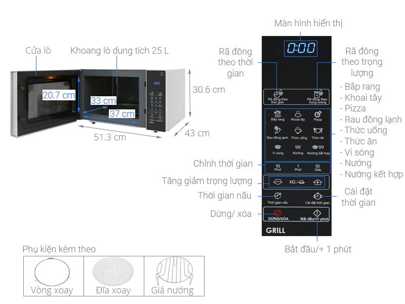Thông số kỹ thuật Lò vi sóng Sharp R-G574VN-S 25 lít