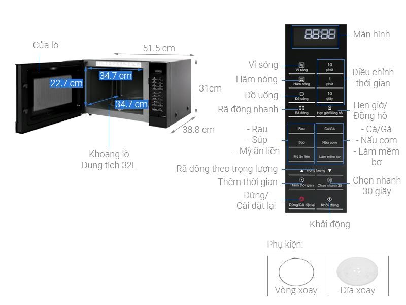 Thông số kỹ thuật Lò vi sóng Panasonic NN-ST65JBYUE 32 lít