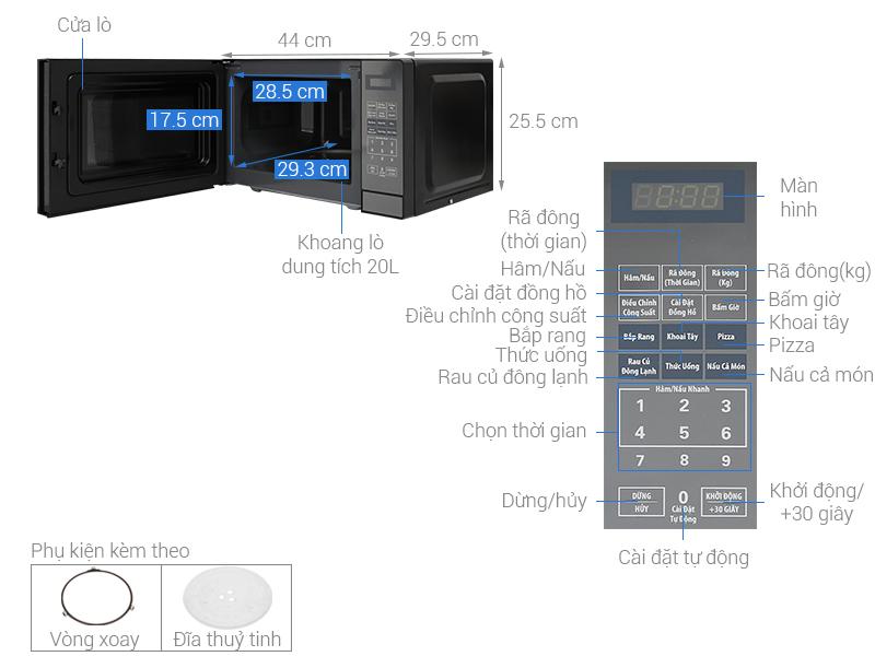Thông số kỹ thuật Lò vi sóng Bluestone MOB-7819 20 lít