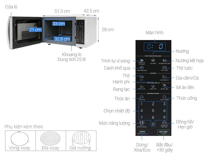 Thông số kỹ thuật Lò vi sóng Sharp R-G52XVN-ST 25 lít
