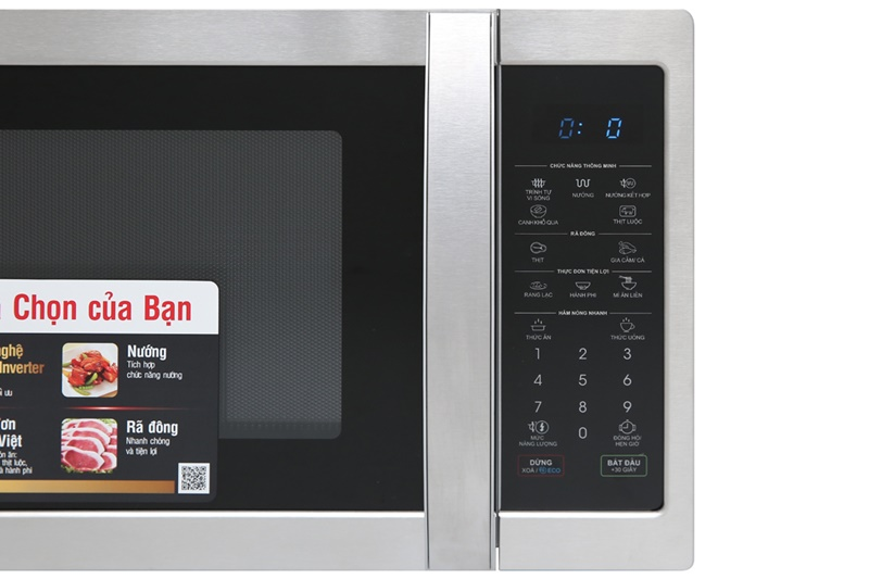 Có bảng điều khiển nút nhấn điện tử với chỉ dẫn bằng tiếng Việt thân thiện người dùng - Lò vi sóng Sharp R-G52XVN-ST 25 lít