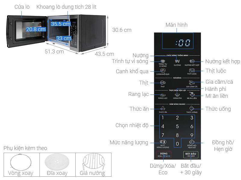 Thông số kỹ thuật Lò vi sóng Sharp R-G728XVN-BST