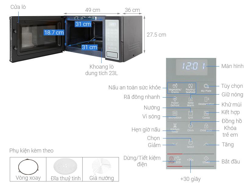 Thông số kỹ thuật Lò vi sóng Samsung MG23J5133AM/SV-N