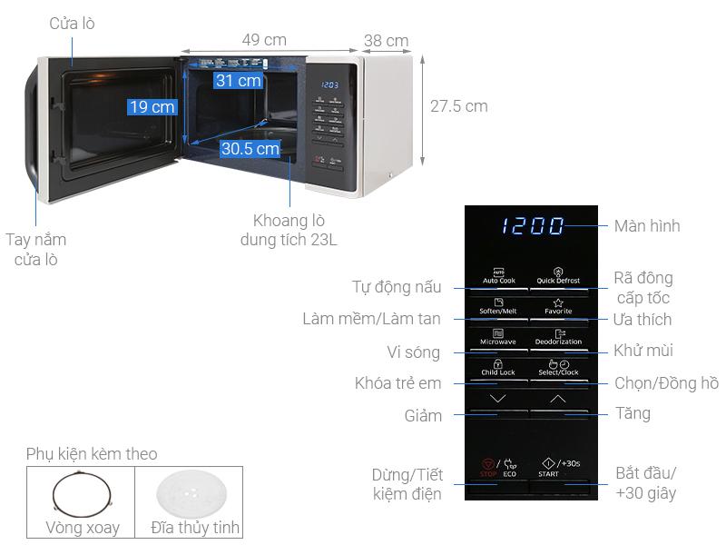 Thông số kỹ thuật Lò vi sóng Samsung MS23K3513AS/SV-N 23 lít