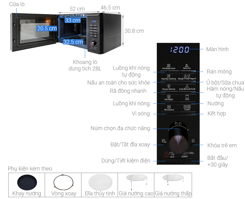Thông số kỹ thuật Lò vi sóng Samsung MC28M6035CK/SV-N 28 lít
