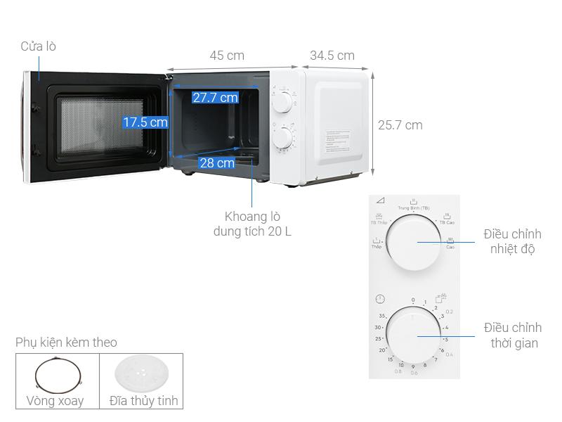 Thông số kỹ thuật Lò vi sóng Electrolux EMM20K18GW 20 lít