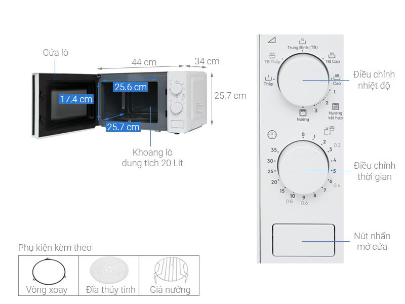 Thông số kỹ thuật Lò vi sóng Electrolux EMG20K38GWP 20 lít
