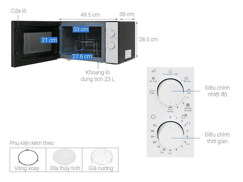 Thông số kỹ thuật Lò vi sóng Electrolux EMG23K38GB 23 lít