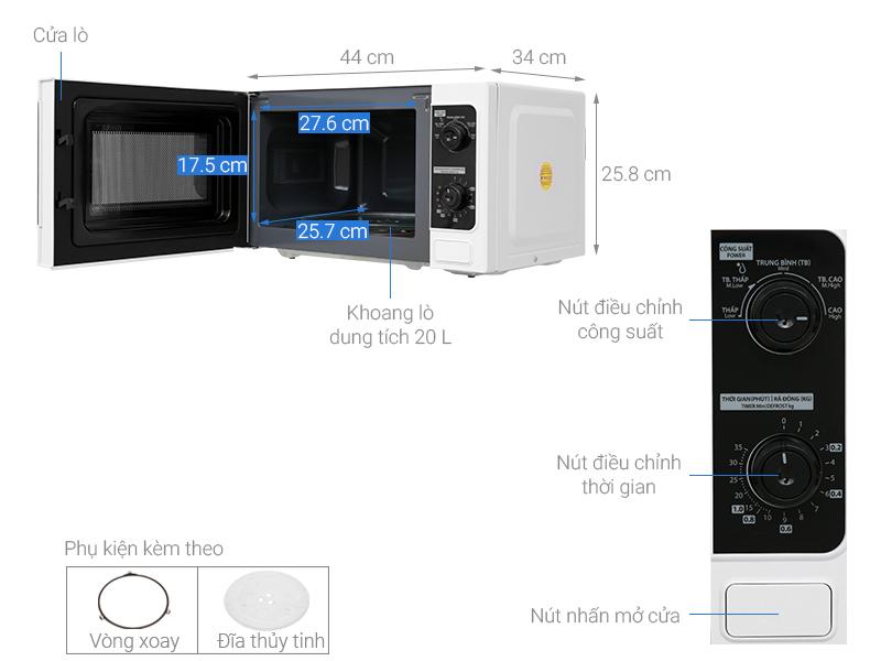 Thông số kỹ thuật Lò vi sóng Toshiba ER-SM20(W1)VN 20 lít