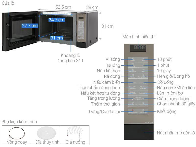 Thông số kỹ thuật Lò vi sóng Panasonic NN-GT65JBYUE 31 lít