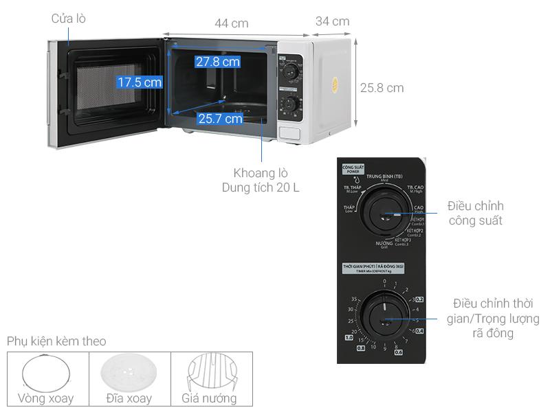 Thông số kỹ thuật Lò vi sóng Toshiba ER-SGM20(S1)VN 20 lít