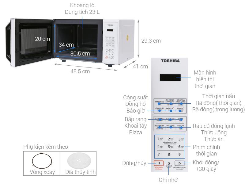 Thông số kỹ thuật Lò vi sóng Toshiba ER-SS23(W1)VN 23 lít