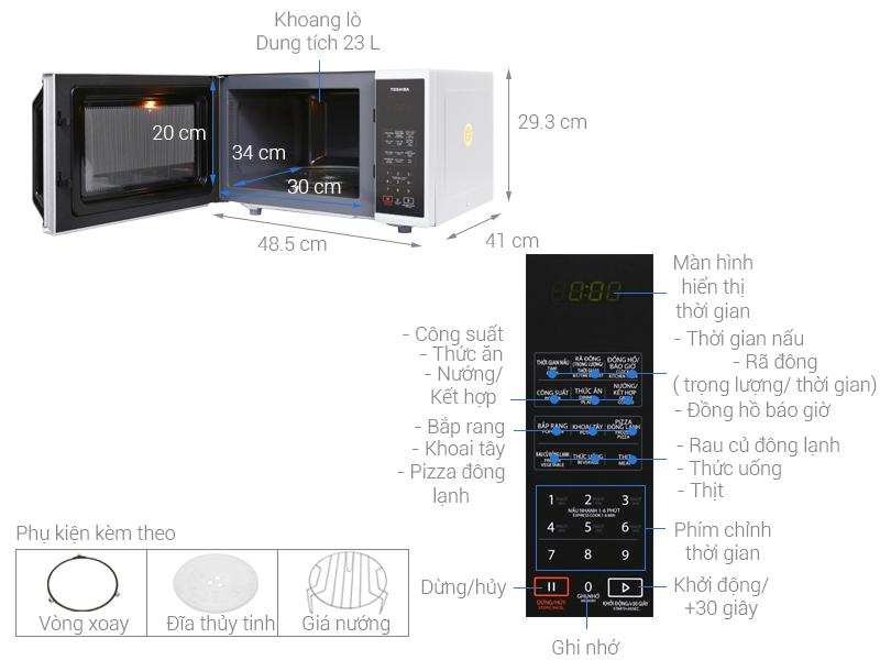 Thông số kỹ thuật Lò vi sóng Toshiba ER-SGS23(S1)VN 23 lít