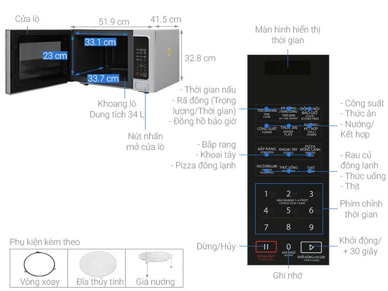 Thông số kỹ thuật Lò vi sóng Toshiba ER-SGS34(S1)VN 34 lít