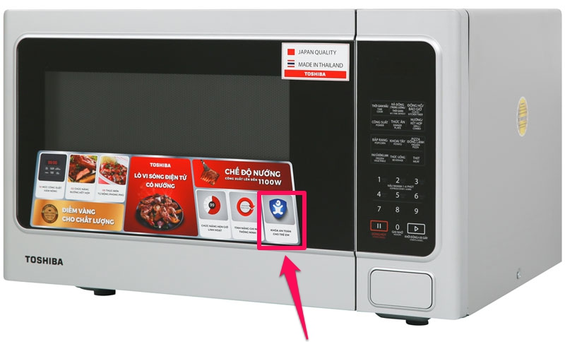 Chức năng khóa bảng điều khiển khi kích hoạt sẽ vô hiệu hóa toàn bộ bảng điều khiển - Lò vi sóng Toshiba ER-SGS34(S1)VN 34 lít