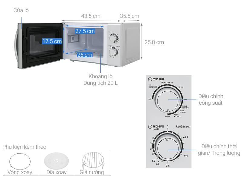 Thông số kỹ thuật Lò vi sóng BlueStone MOB-7716 20 lít