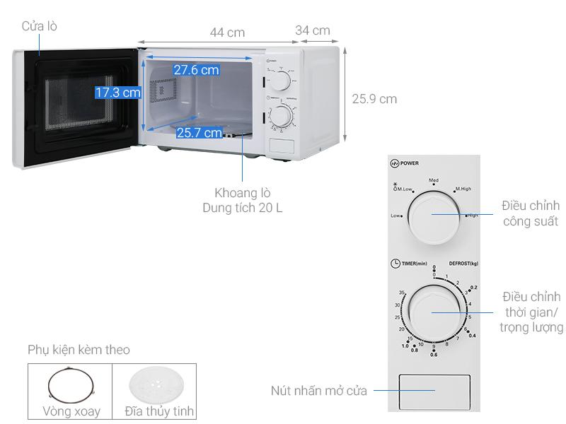Thông số kỹ thuật Lò vi sóng Midea MO-MM2019B 20 lít