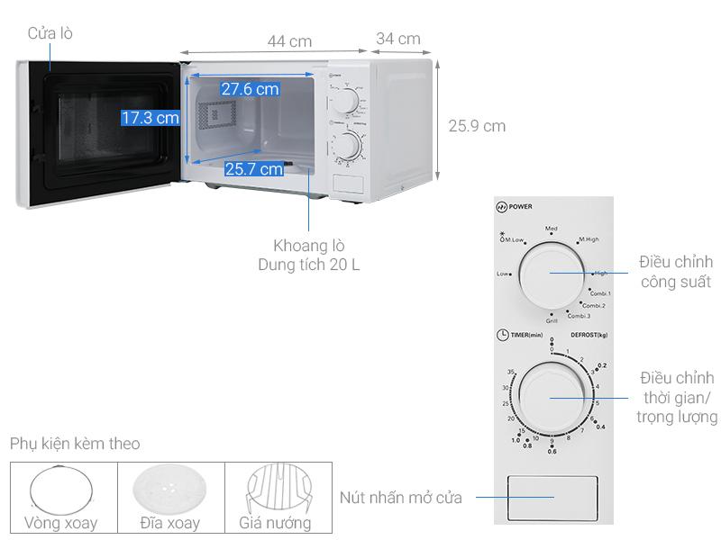 Thông số kỹ thuật Lò vi sóng Midea MO-MG2019C 20 lít