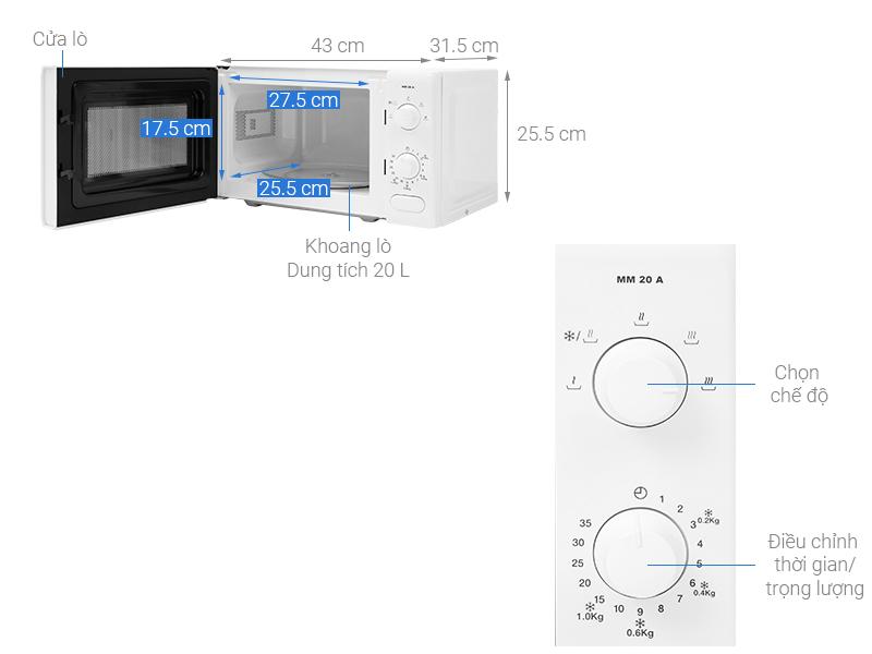 Thông số kỹ thuật Lò vi sóng TEKA MM 20 A BLANCO 20 lít