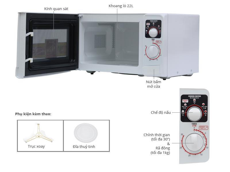 Thông số kỹ thuật Lò vi sóng Sharp R-209VN 22 lít