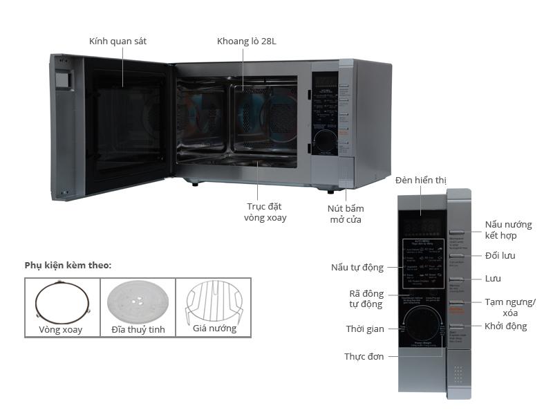 Thông số kỹ thuật Lò vi sóng Sanyo EM-C6786V 28 lít