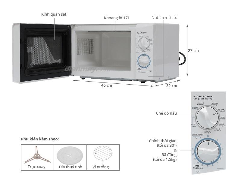 Thông số kỹ thuật Lò vi sóng Sanyo EM-G205AW 17 lít