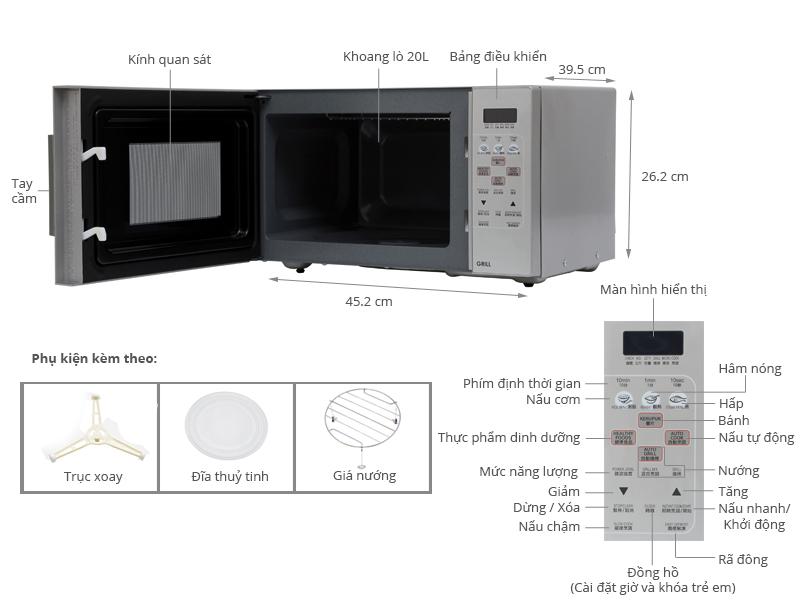 Thông số kỹ thuật Lò vi sóng Sharp R-678VN(S) 20 lít