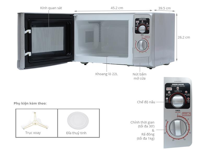 Thông số kỹ thuật Lò vi sóng Sharp R-20A1(S)VN 22 lít
