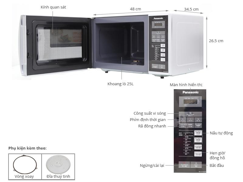 Thông số kỹ thuật Lò vi sóng Panasonic PALM-NN-ST342MYUE 25 lít